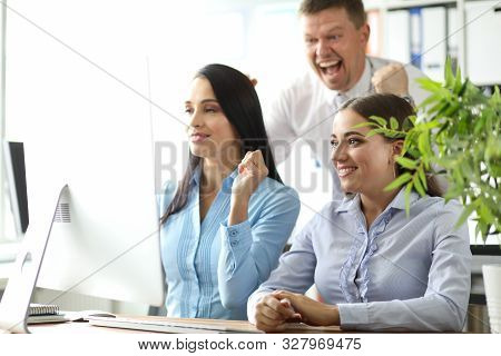 Social Media Addict Concept. Two Businesswomen Doing Bad Work And Head Of Department Yelling At Them