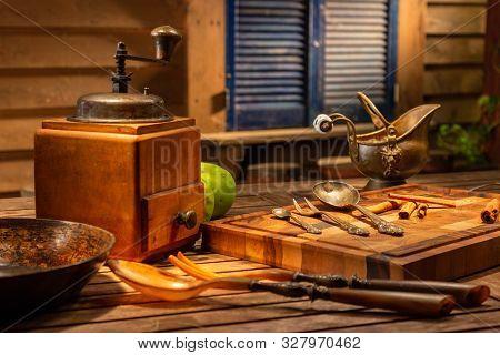 Vintage Still Life With Old Copper Vintage Jug On A Wooden Brown Table. Still Life With Old Coffee M