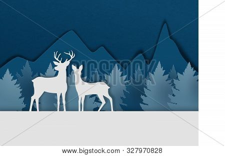 Digital Craft Made Deer Couple On Snowfield With Pine Forest And Mountain In Paper Cut Style. Vector