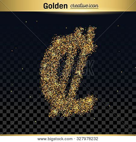 Gold Glitter Vector Icon Of Euro Isolated On Background. Art Creative Concept Illustration For Web,