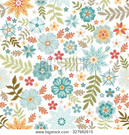Embroidery Seamless Pattern With Beautiful Flowers And Leaves On White Background. Fashion Print Wit