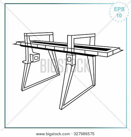 Overhead Bridge Crane Icon. Double Girder Electric Overhead Travelling Crane Overhead Bridge Crane.