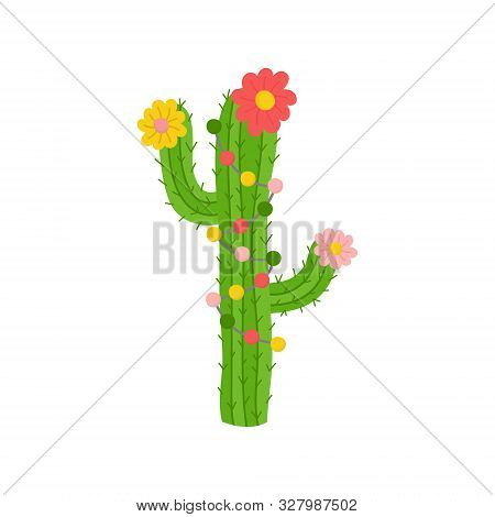Christmas Cactus Vector Illustration. Festive, Seasonal, Holiday Cute Xmas Decorated Cactus With Lig