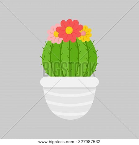 Christmas Cactus Vector Illustration. Festive, Seasonal, Holiday Cute Xmas Cactus With Flowers In Gr