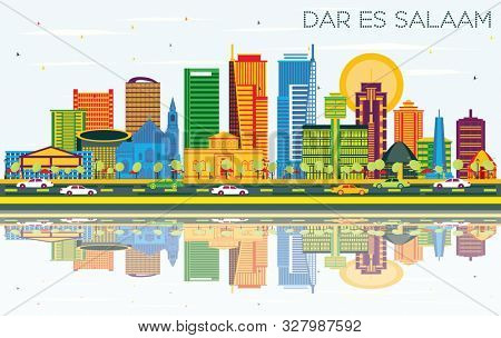Dar Es Salaam Tanzania City Skyline with Color Buildings, Blue Sky and Reflections. Business Travel and Tourism Concept with Modern Architecture.