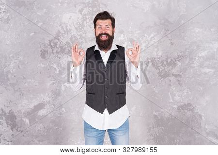 Be Ok Today. Happy Hipster With Mustache And Beard Show Ok Signs. Bearded Man Smiling With Ok Hand G