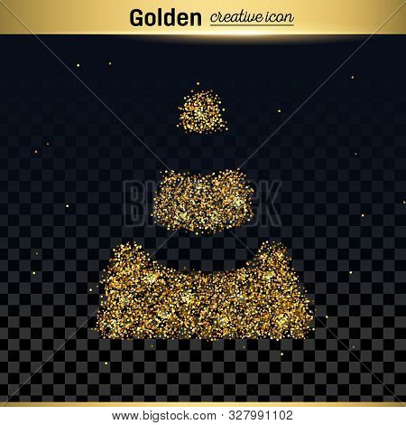 Gold Glitter Vector Icon Of Traffic Cone Isolated On Background. Art Creative Concept Illustration F