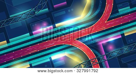 Transport Interchange In Night Neon City Top View. Modern Megapolis Architecture With Red Highway Ro