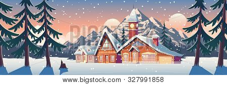 Winter Mountain Landscape With Houses Decorated With Christmas Garland And Tower With Clock. Ski Res