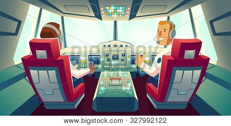 Pilots In Jet Cockpit, Capitain And Co-pilot Sitting In Airplane Cabin With Flight Deck Dashboard An