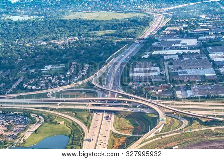 Aerial View Of Highway Interchange In A City