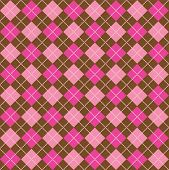 Background illustration of pink and brown argyle pattern poster