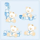 white teddy bear with building blocks, a separate sample, vector, illustrations poster