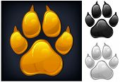 Yellow animal paw print isolated on black vector illustration poster