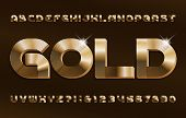 3D Gold alphabet font. Shiny golden letters and numbers in 70s style. Stock vector typescript for your design. poster