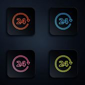 Color neon line Clock 24 hours icon on black background. All day cyclic icon. 24 hours service symbol. Set icons in colorful square buttons. Vector Illustration poster