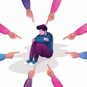 Conceptual flat design illustration for guilt, victim, blaming, public disapproval, humiliation and abjection, depicting sad man surrounded by hands with index fingers pointing at him. poster