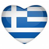 Vector - Greece Flag Heart Glossy Button poster