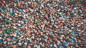 Aerial. People Crowd Background. Mass Gathering Of Many People. Top View. Toned.