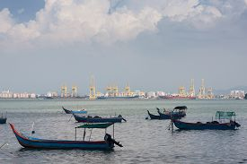 Local Fishing Boats In Penang At  Malaysia