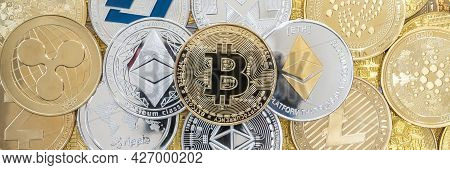 Cryptocurrency Bitcoin Btc With Altcoin Digital Coin Crypto Currency, Eth Ethereum, Ada, Xrp Ripple,