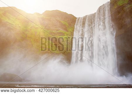 Scogafoss Waterfall In Iceland. Travel Summer Nordic Concept. Natural Icelandic Background.