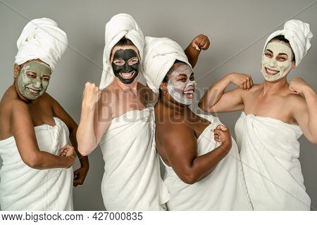 Happy Multiracial Females With Different Age And Body Size Having Skin Care Spa Day - People Selfcar