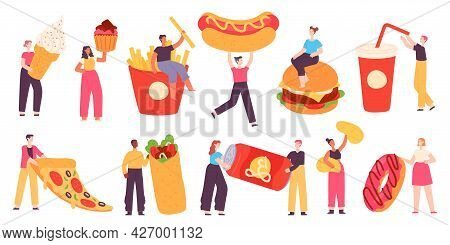People With Fast Food. Tiny Characters Hold Pizza, Burger, Hot Dog, Soda Drink, Potato Chips And Swe