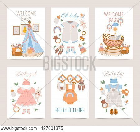 Nursery Decor Posters. Baby Shower Cards For Boy And Girl With Newborn Clothes, Toys And Crib In Boh