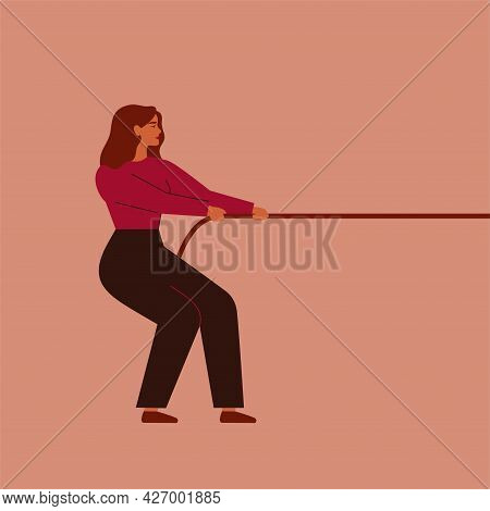 Strong Woman Tugs-of-war To Herself. Girl Pulls The Rope With Strength. Feminism And Female Empowerm