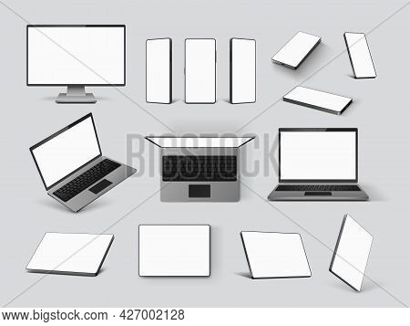 Gadgets Mockups. Realistic Laptop, Mobile Phone, Computer Monitor Screen And Tablet In Front, Angle