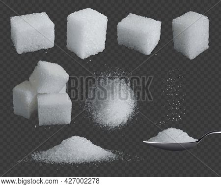 Realistic Sugar. 3d Glucose In Cubes And Powder. White Grain Sugar In Spoon, Pile Top And Side Views