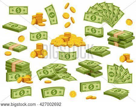 Cartoon Banknotes And Coins. Green Dollar Bill Packs, Bundles, Stacks And Piles. Flying Banknote And