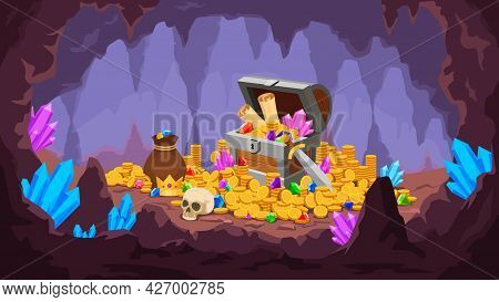 Treasure Cave. Mine With Pile Of Gold Coins, Crystals, Old Chest With Map And Gem, Money Bag And Sku
