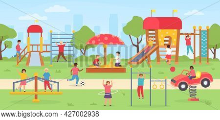 Kids Playground At Park. Group Of Children Playing Outdoor, On Swings, Slide And Game House. Flat Ci