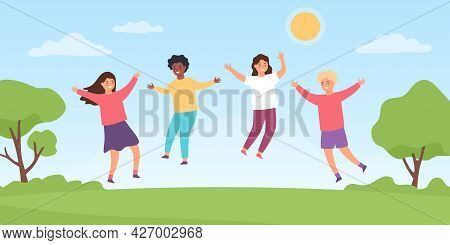 Kids Jump On Meadow. Cartoon Happy Children Boys And Girls Playing Outside. Childhood Summer Fun Act