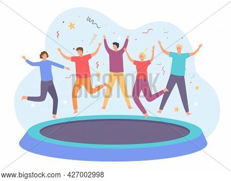 Teens On Trampoline. Happy Group Of Friends Jumping And Having Fun. Energetic People Leap On Trampol