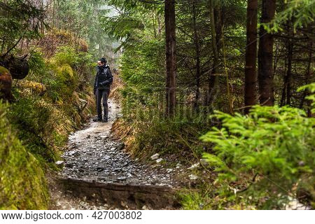 Bialki Valley, Tatra Mountains, Poland - 10 April 2016: A Woman On The Trail In The Białka Valley. I