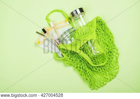 Reusable String Eco Bag With Bamboo Cutlery, Tooth Brushes, Reusable Glass. Eco Friendly, Plastic Fr