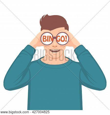 Bingo, Opportunity Concept, Vector Illustration, Man Looking Through Binoculars