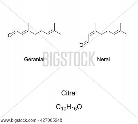 Citral Or Lemonal, Chemical Formulas. Mixture Of Organic Compounds Geranial And Neral. Terpenoids An