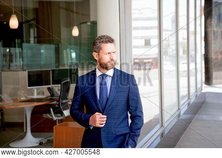 Male Formal Fashion. Professional Unshaven Ceo. Confident Businessman