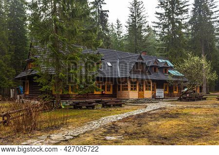 Bialki Valley, Tatra Mountains, Poland - 10 April 2016: View Of The Wincenty Pol Shelter In Roztoka.