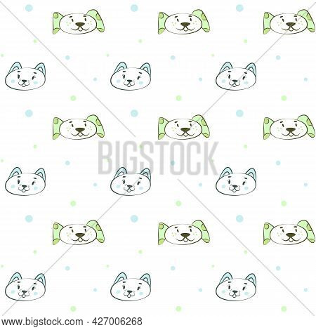 Simple Cute Pastel Print With Cat And Dog Muzzles. Delicate Light Seamless Pattern For Nursery Desig