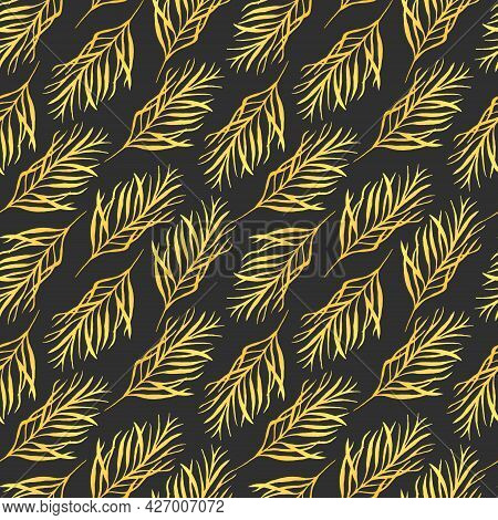 Watercolor Pattern With Golden Leaves. Abstract Botanical Pattern With Leaves. Bright Golden Twigs.