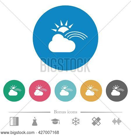 Sunny And Rainbow Weather Flat White Icons On Round Color Backgrounds. 6 Bonus Icons Included.