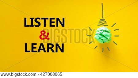 Listen And Learn Symbol. Green Shining Light Bulb Icon. Words 'listen And Learn'. Beautiful Yellow B