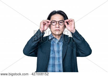 Portrait Images Of Asian Middle-aged Man Wearing A Suit And Is Wering Long-sighted Glasses, On White