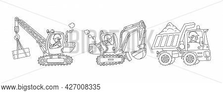 Heavy Construction Machinery Set Cars With Drivers