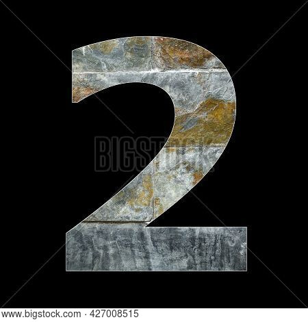 Number 2 - Two Digit On Rustic Stone Background